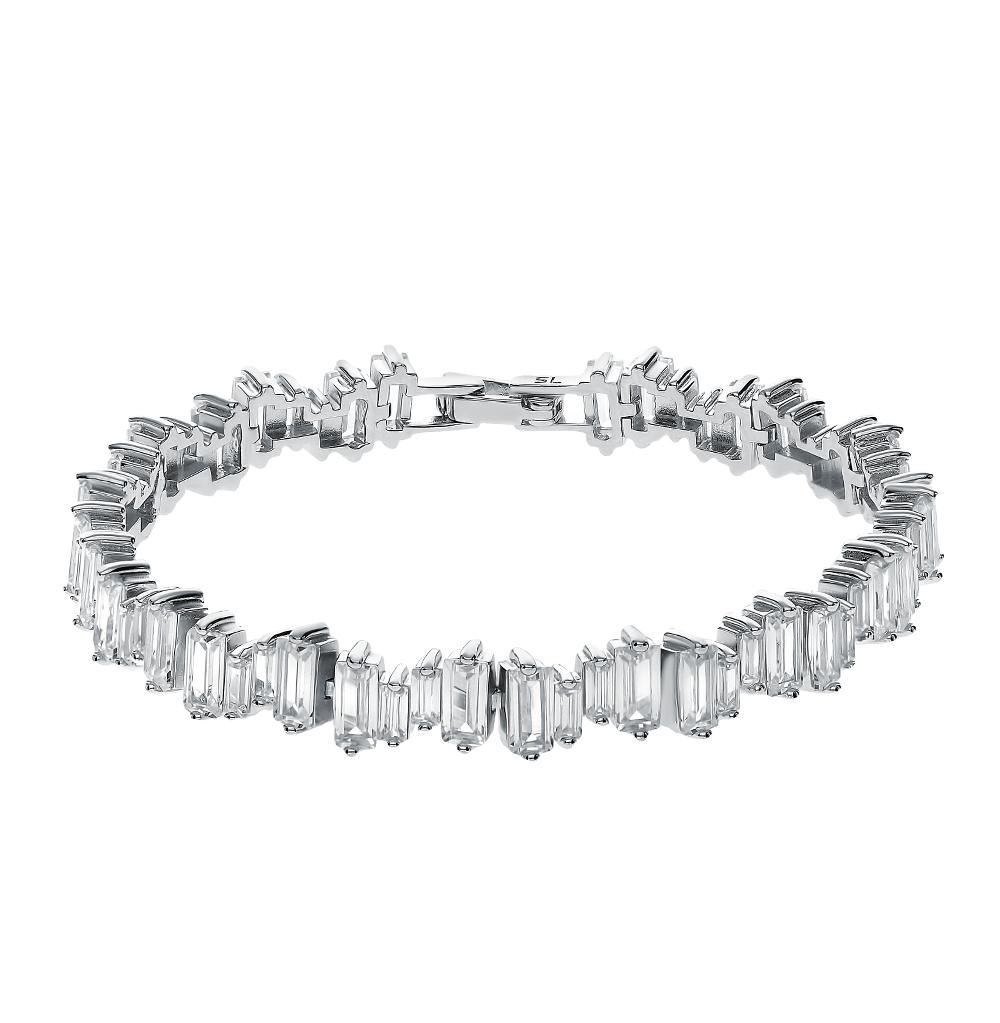 серебряный браслет с фианитами