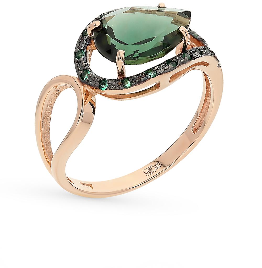 Фото «золото кольцо с фианитами и турмалинами имитациями»
