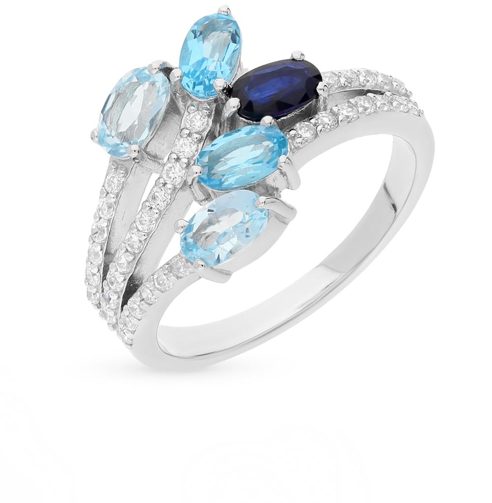 Фото «серебряное кольцо с топазами, фианитами и сапфирами»