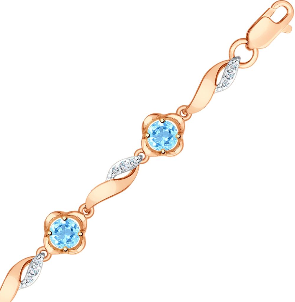 золотой браслет с топазами и фианитами SOKOLOV 750262*