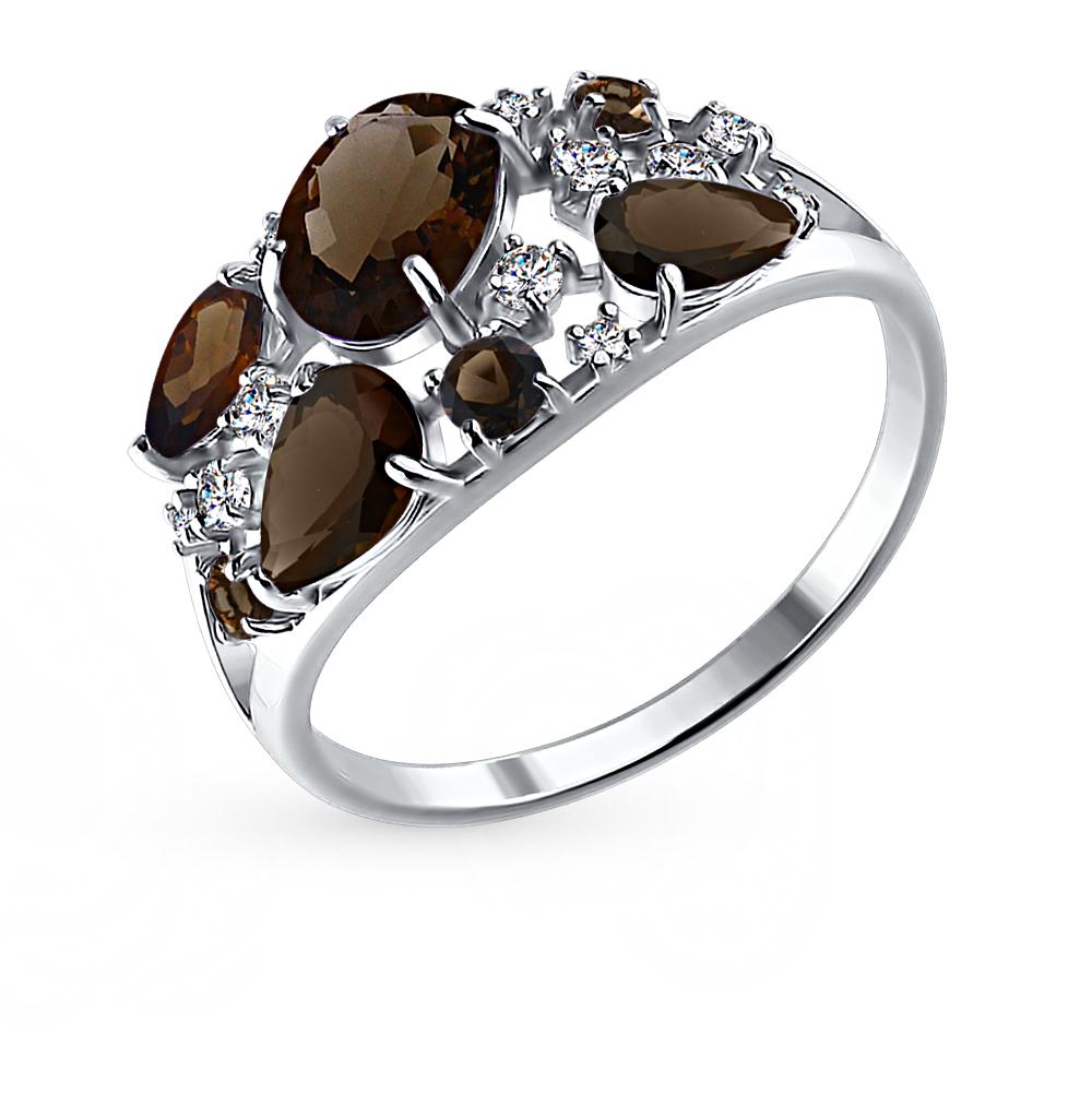 серебряное кольцо с раухтопазами и фианитами SOKOLOV 92010222