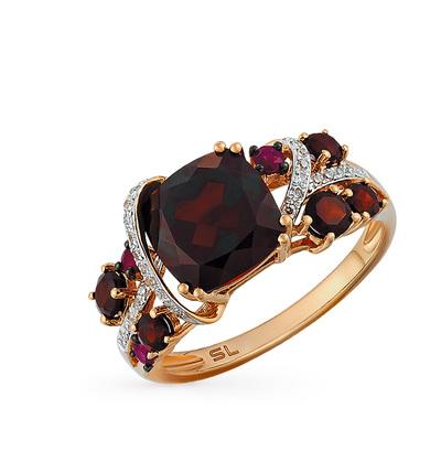 Фото «золотое кольцо с гранатом, рубинами и бриллиантами»