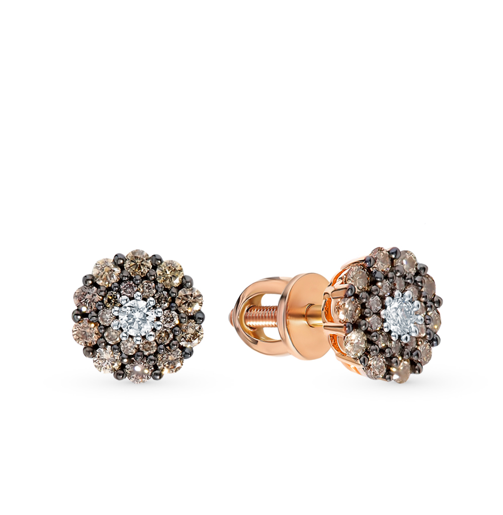 Фото «Золотые серьги с коньячными бриллиантами»