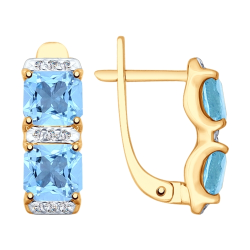 Фото «Золотые серьги с топазами и фианитами SOKOLOV 725347*»