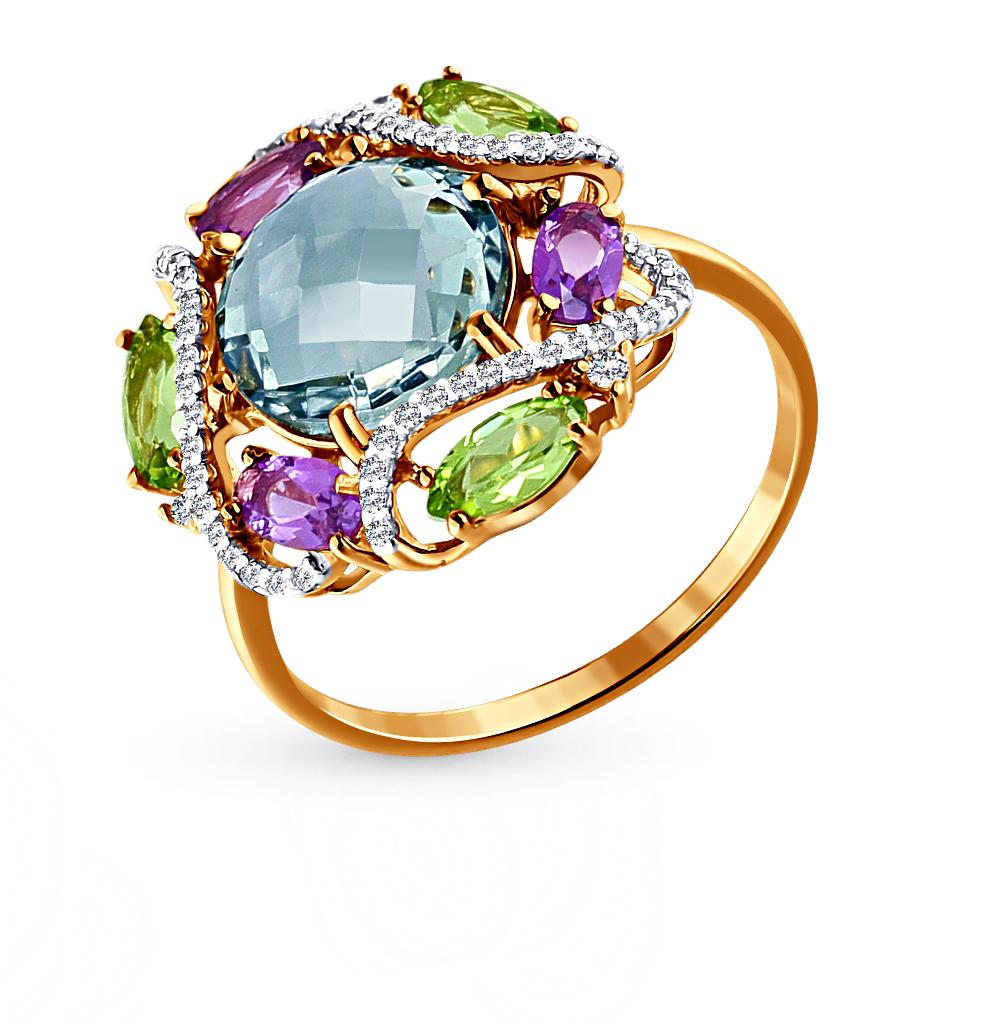 Фото «золотое кольцо с аметистом, топазами, фианитами и хризолитом»
