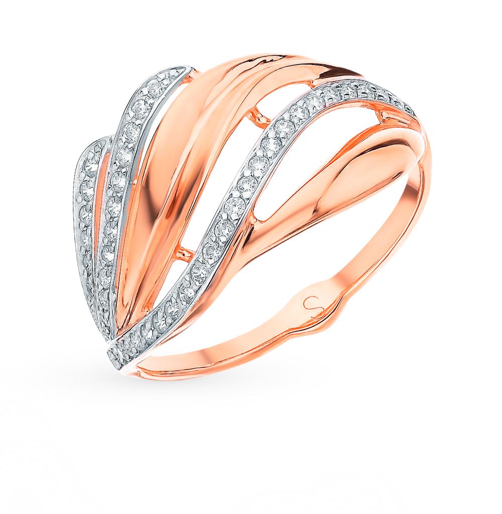 золотое кольцо с фианитами SOKOLOV 018235*
