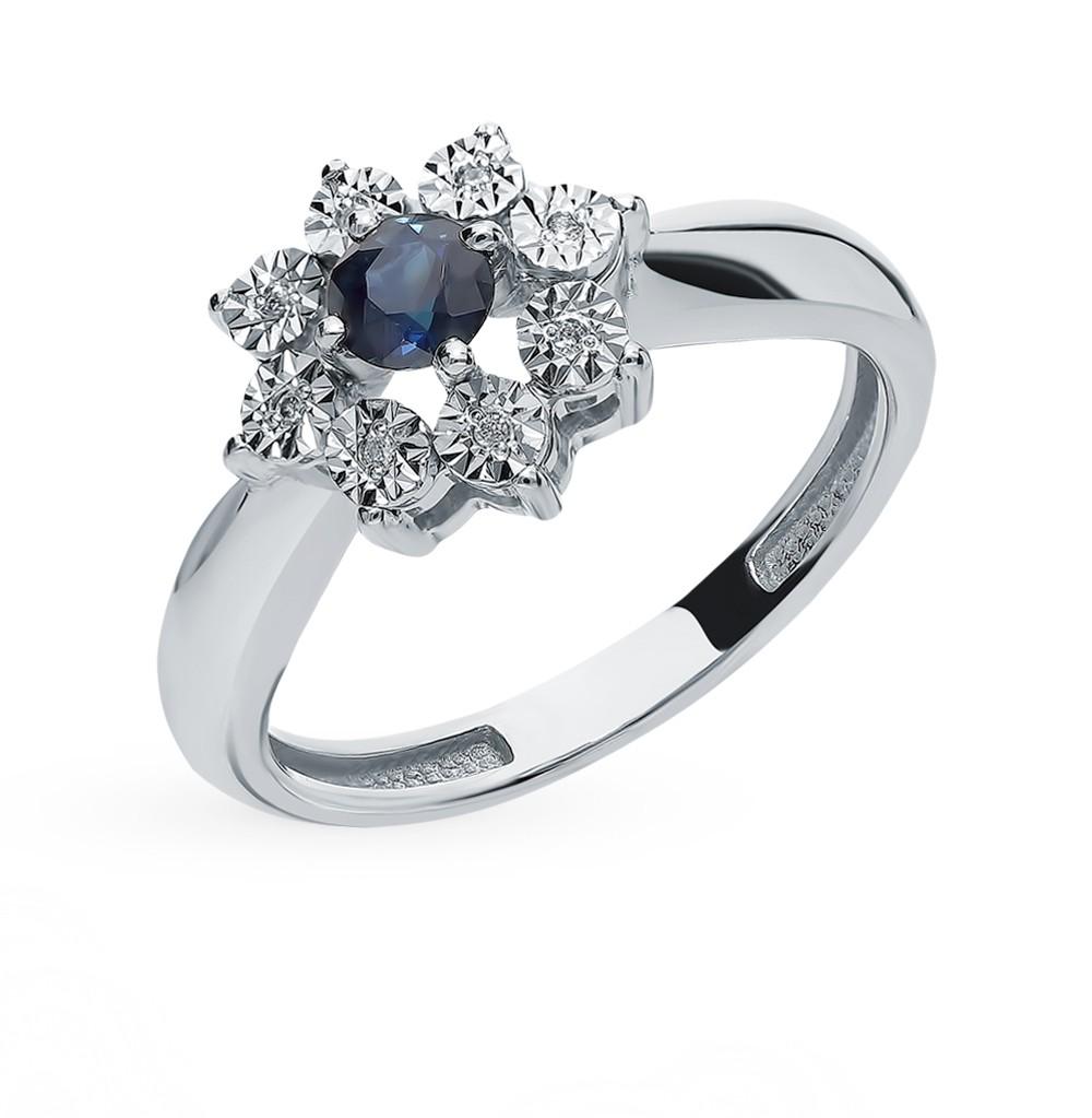Золотое кольцо с сапфиром и бриллиантами в Екатеринбурге