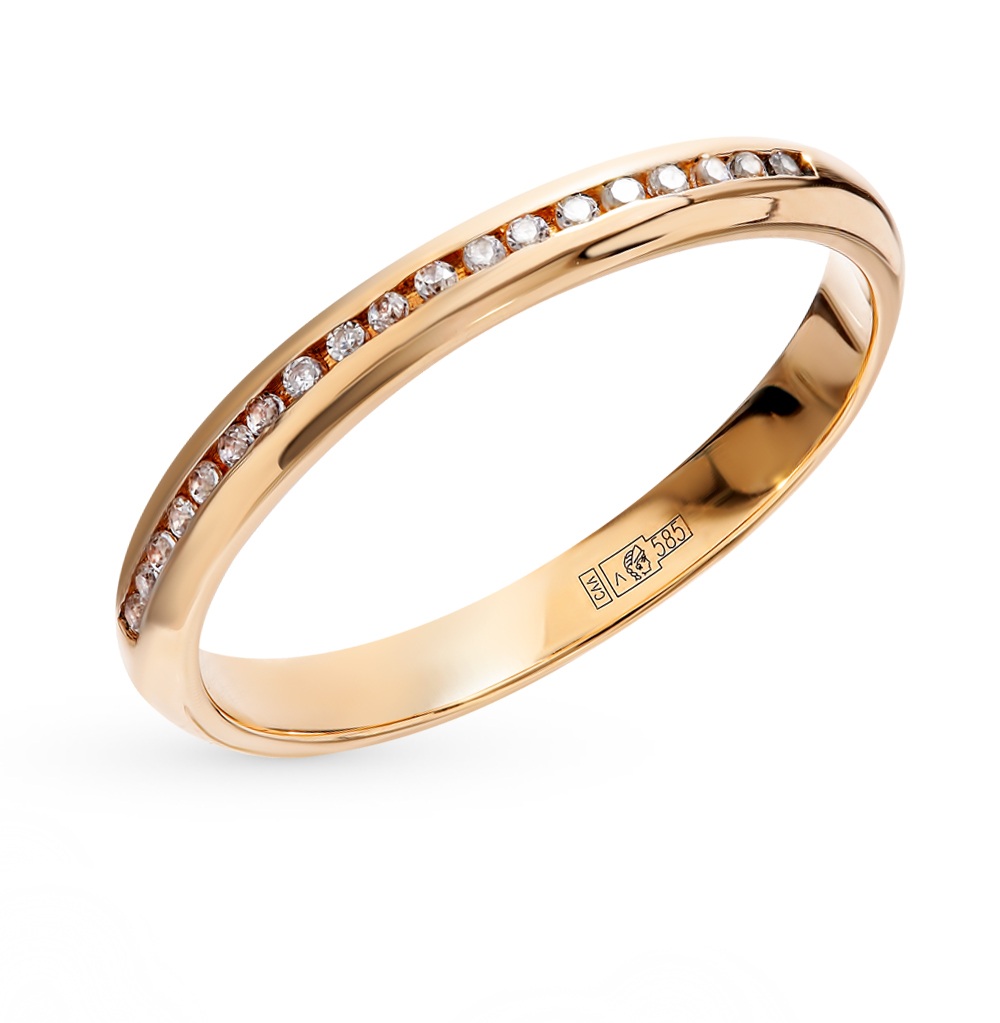 Золотое обручальное кольцо с фианитами в Санкт-Петербурге