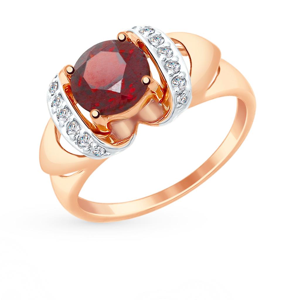золотое кольцо с фианитами и гранатом SOKOLOV 714900*