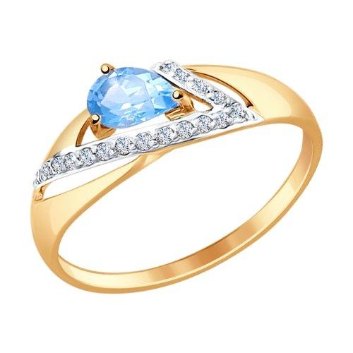 Фото «Золотое кольцо с топазом и фианитами SOKOLOV 714674*»