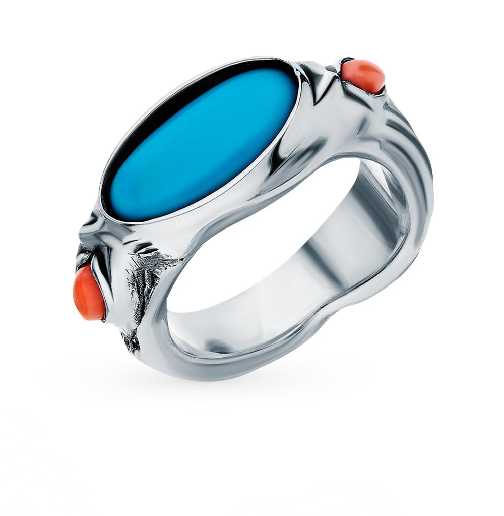 Серебряное кольцо с бирюзой и кораллом в Екатеринбурге