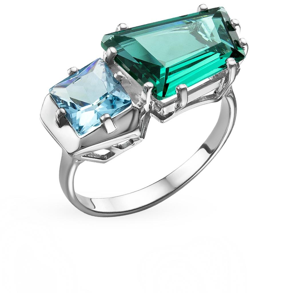 серебряное кольцо с кристаллами
