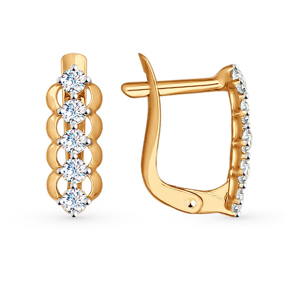 золотые серьги с фианитами SOKOLOV 027149*