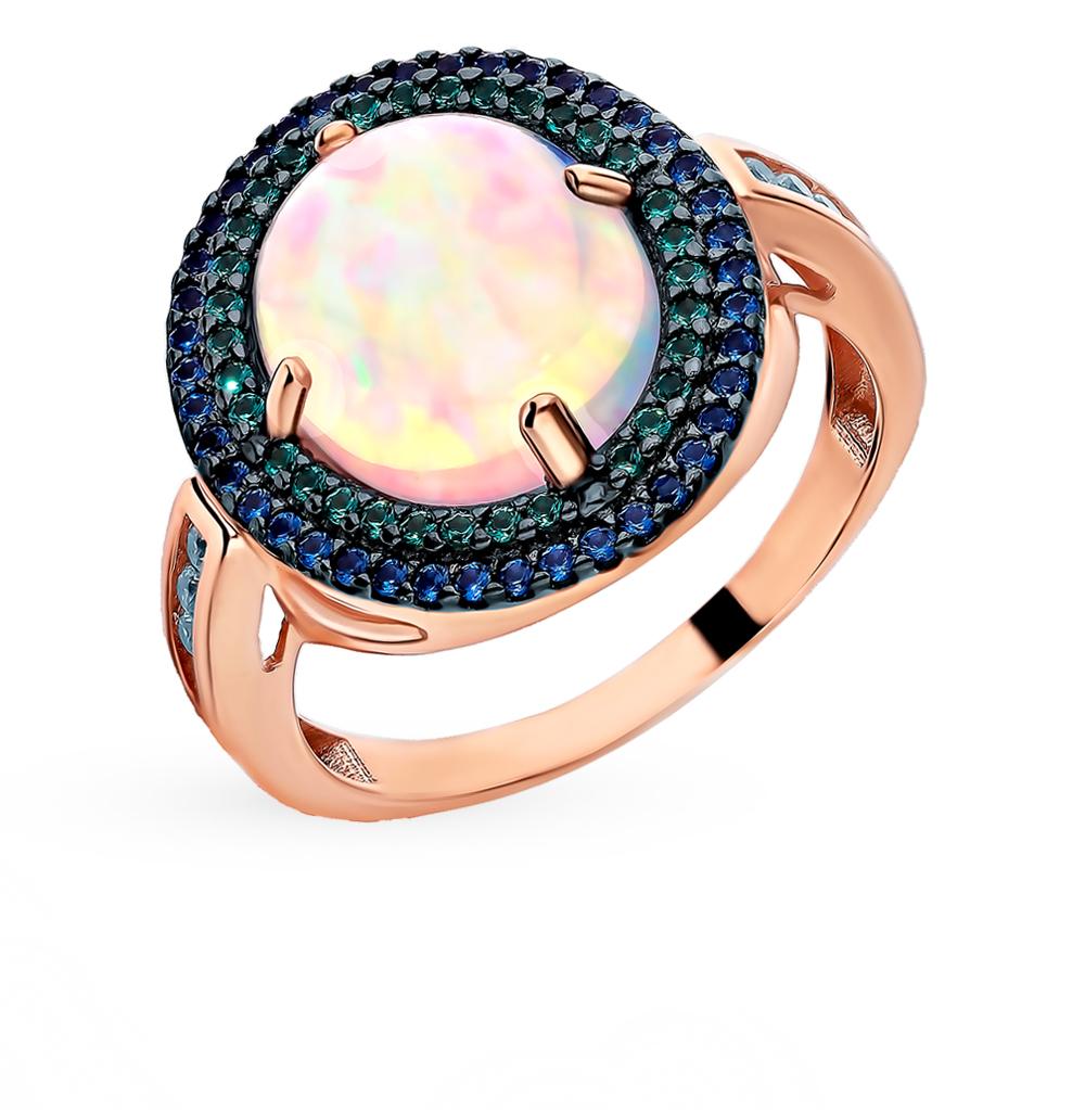 золотое кольцо с сапфирами, фианитами, изумрудами и опалами