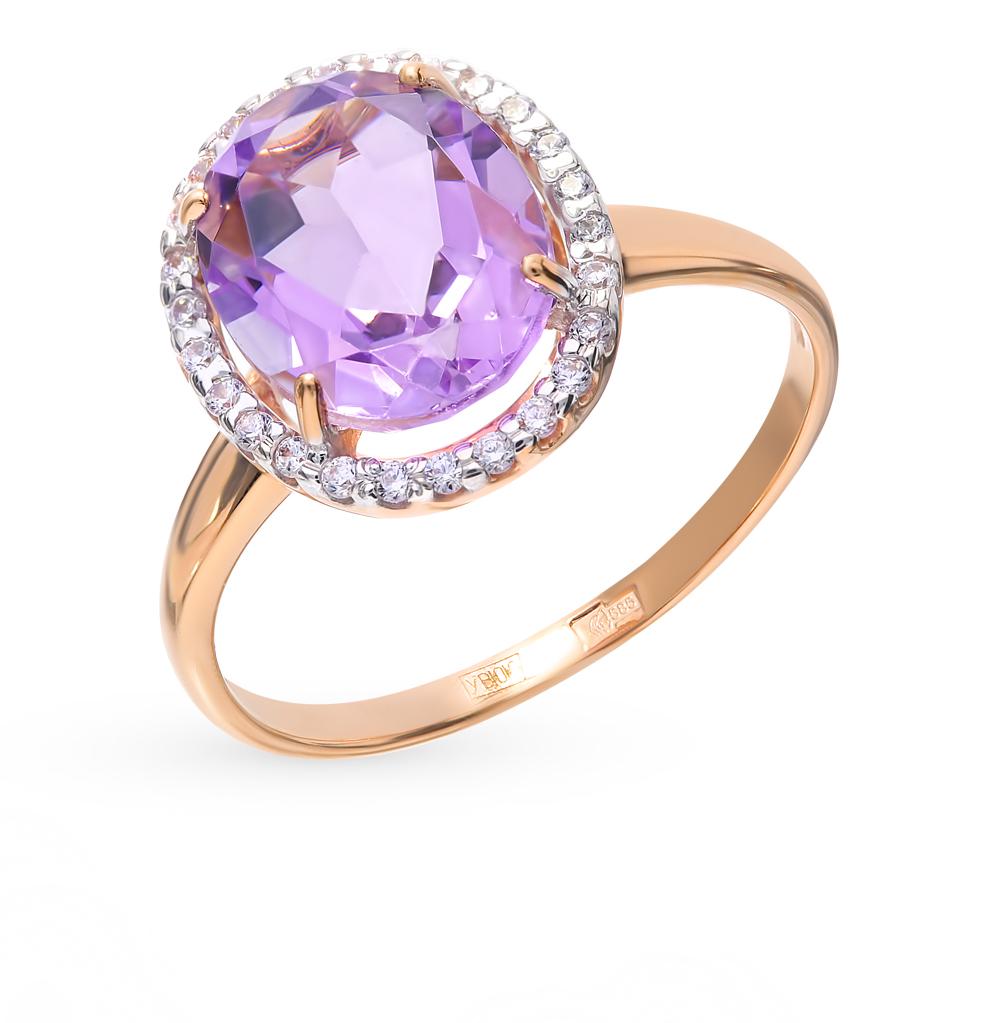 Фото «Золотое кольцо с аметистом и фианитами SOKOLOV 714970*»