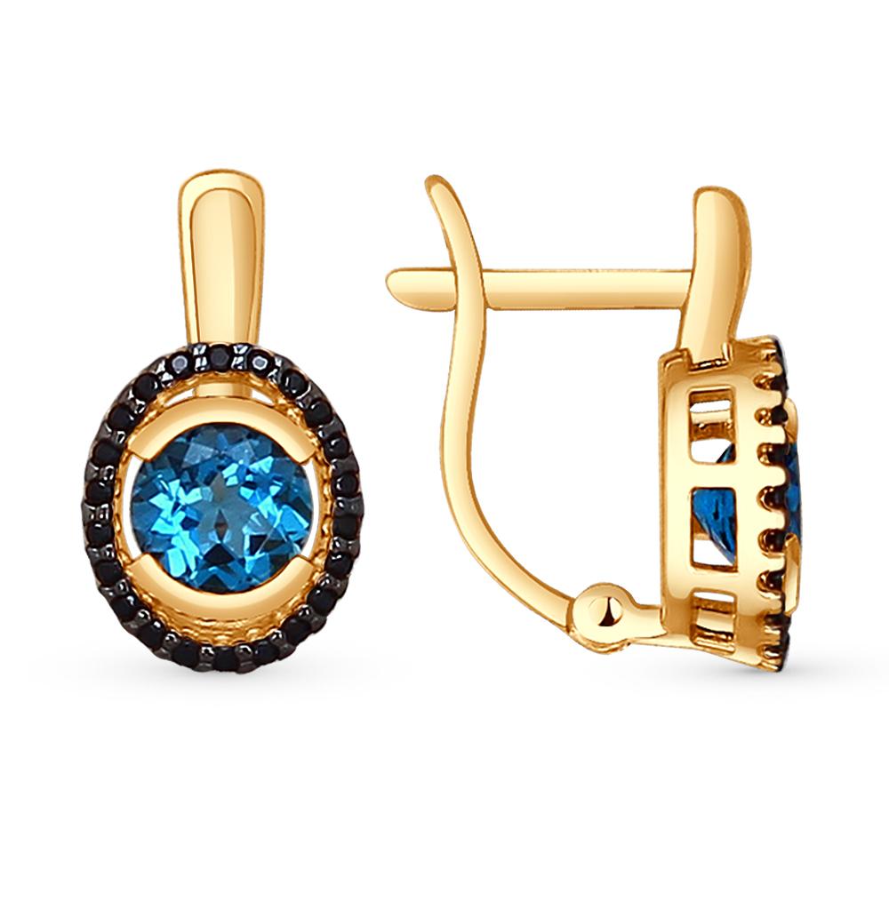 Фото «золотые серьги с топазами и фианитами»