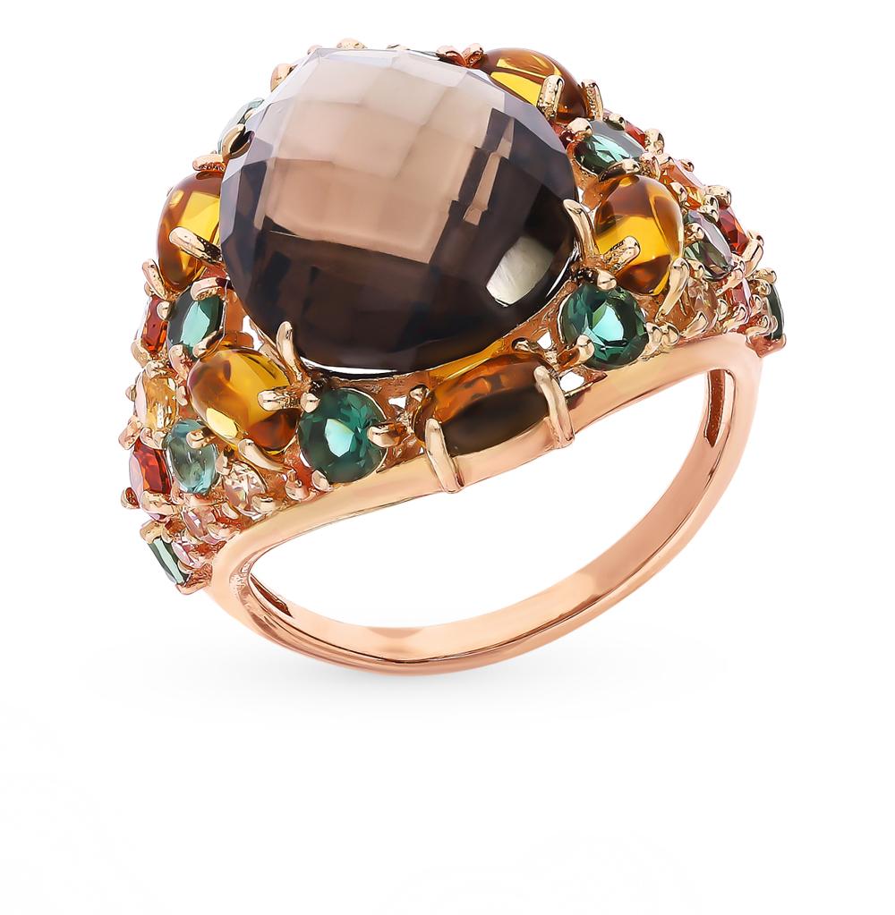 Золотое кольцо с турмалинами, раухтопазами, со шпинелью, гранатом и цитринами в Екатеринбурге