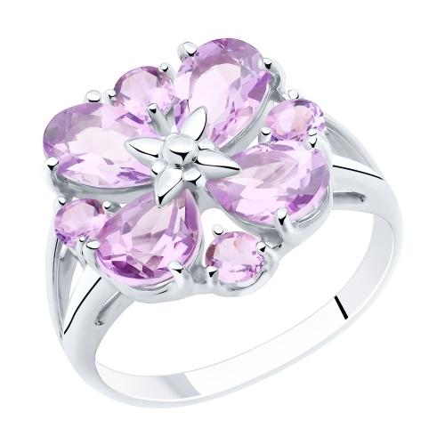Серебряное кольцо с аметистом SOKOLOV 92011856 в Санкт-Петербурге