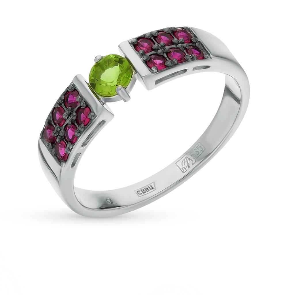 золотое кольцо с рубинами и султанитами синтетическими
