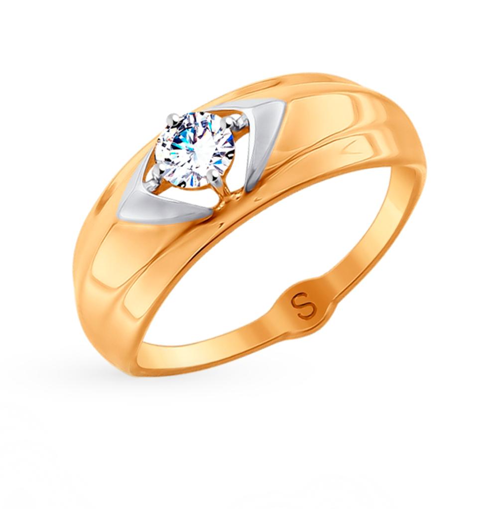 золотое кольцо с фианитами SOKOLOV 017983