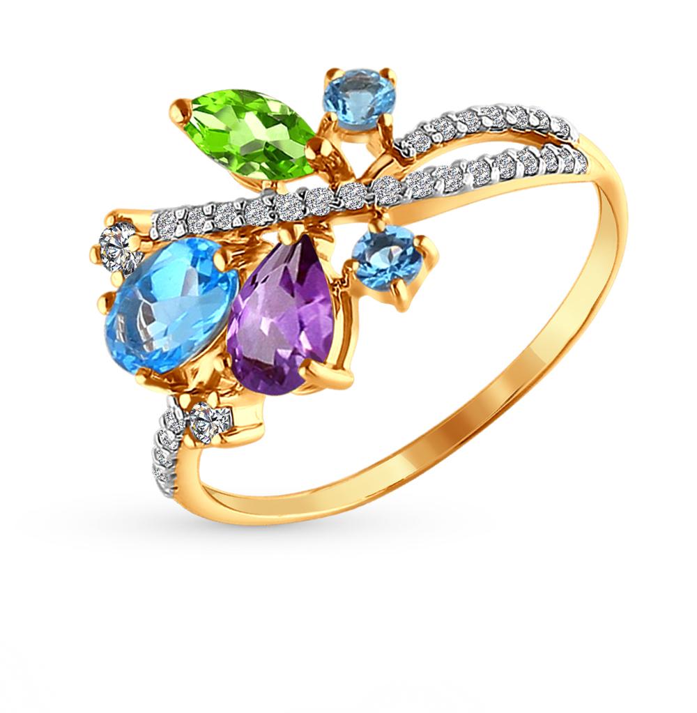 Фото «Золотое кольцо с хризолитом, аметистом, топазами и фианитами SOKOLOV 712572*»