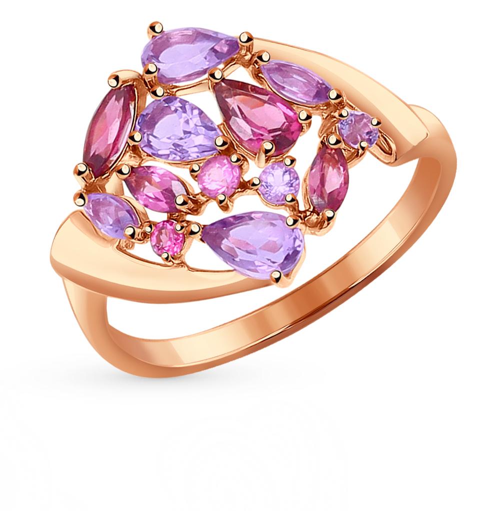 золотое кольцо с родолитами и аметистом SOKOLOV 714341*