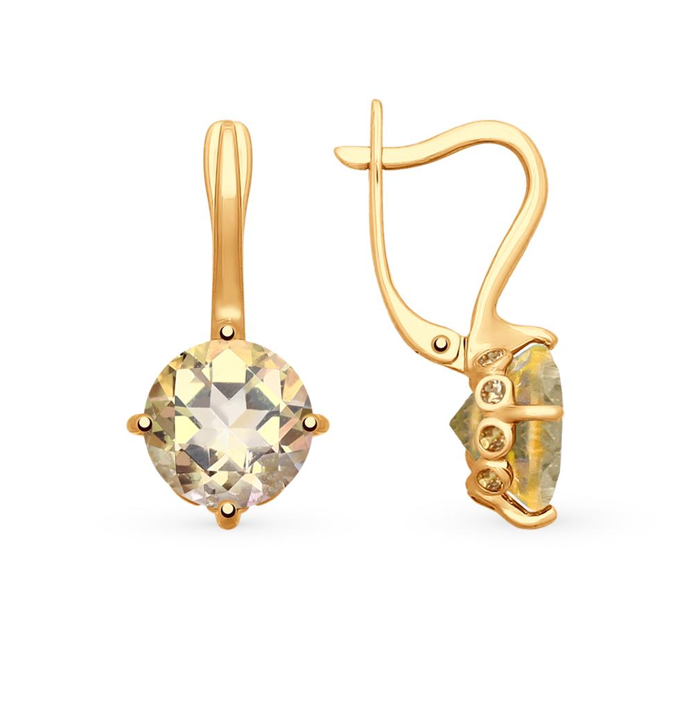 золотые серьги с топазами и фианитами SOKOLOV 725304*
