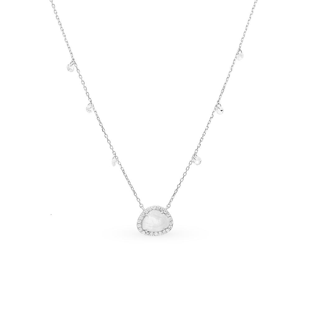 Фото «Серебряное шейное украшение с фианитами и лунными камнями»