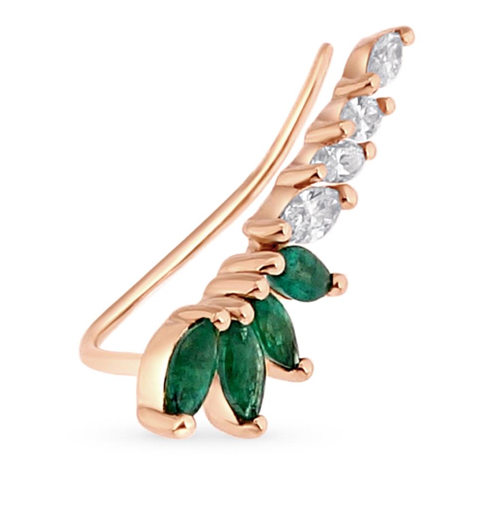Фото «золотая серьга с изумрудами и бриллиантами»