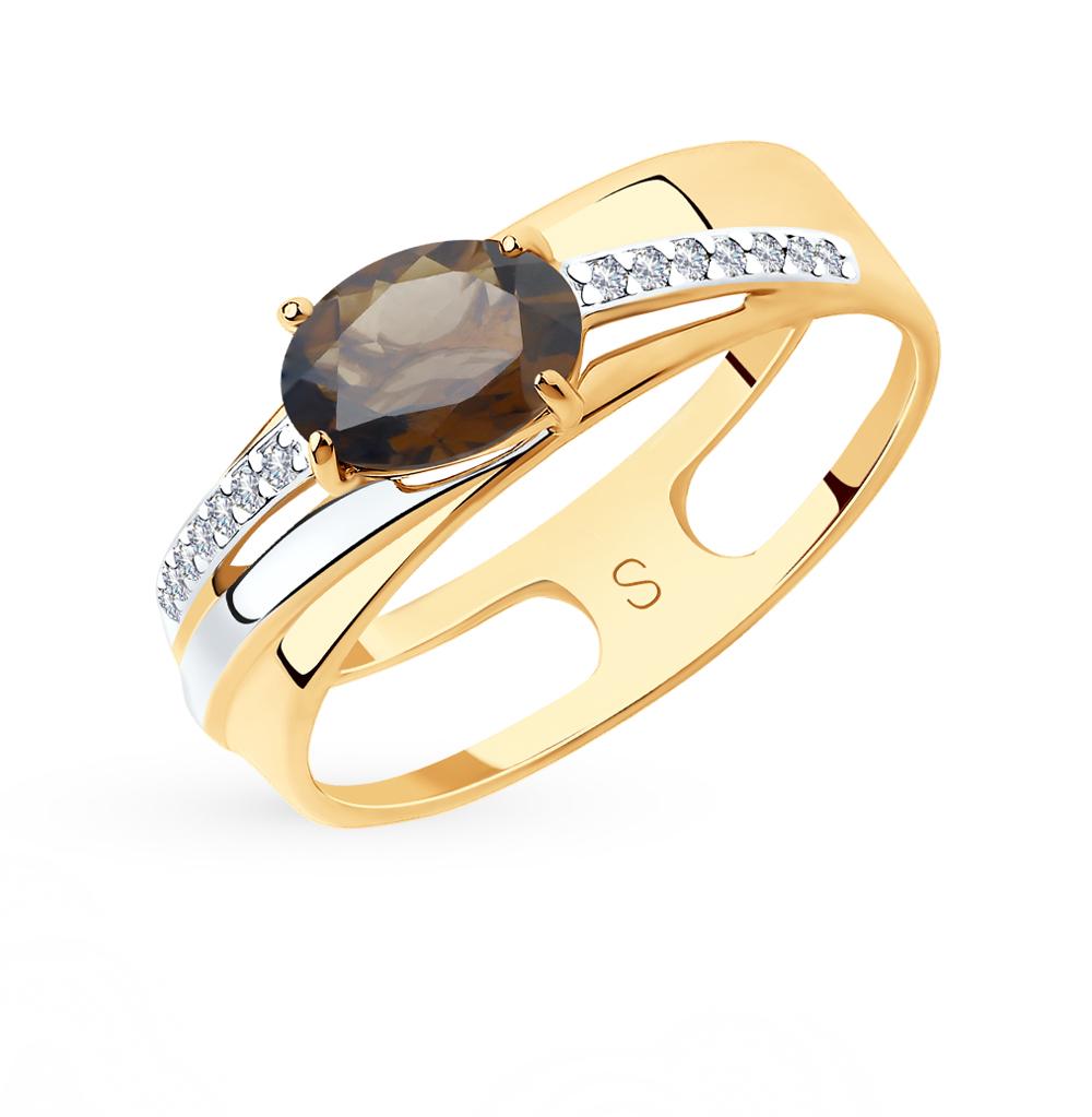 Фото «Золотое кольцо с раухтопазами и фианитами SOKOLOV 715631*»