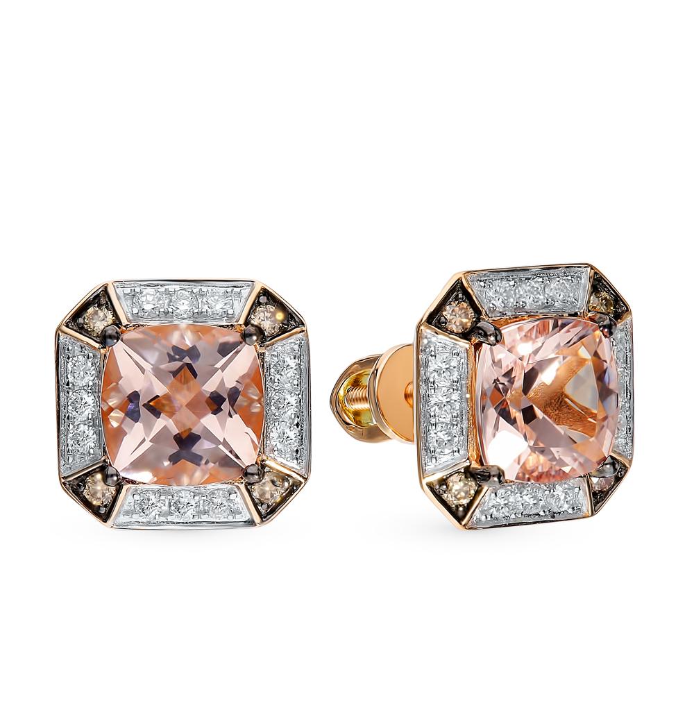 Золотые серьги с коньячными бриллиантами и морганитами