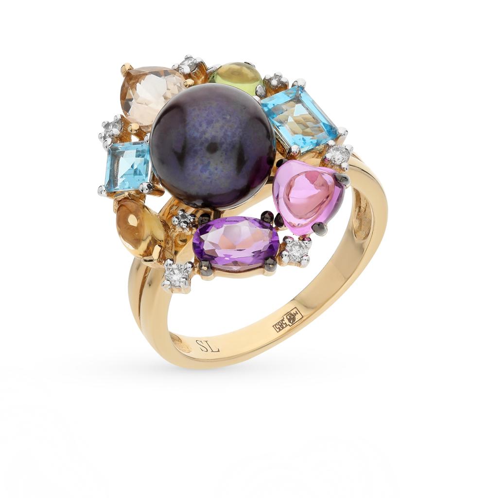 Фото «золото кольцо с хризобериллом, цитринами, кварцем, топазами, сапфирами, аметистом, жемчугом и бриллиантами»