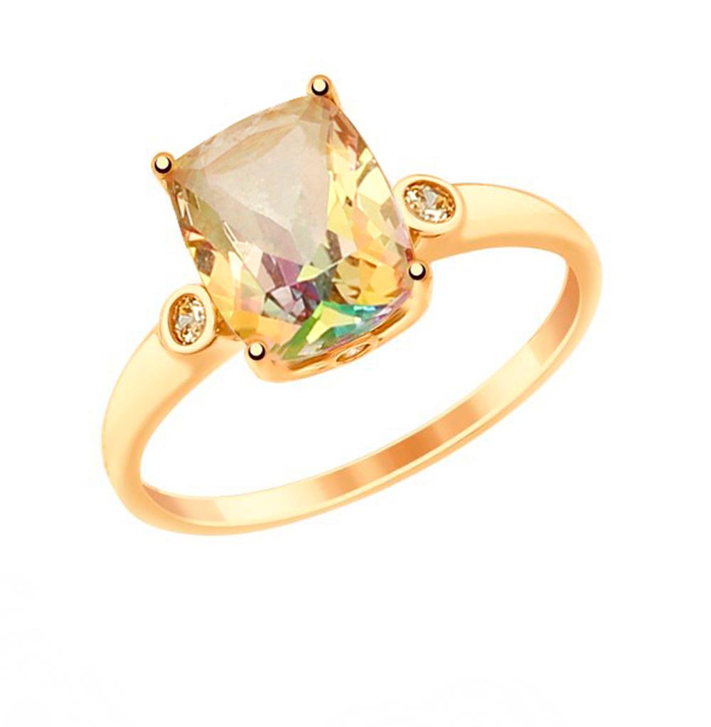 Фото «Золотое кольцо с топазами и фианитами SOKOLOV 714908*»