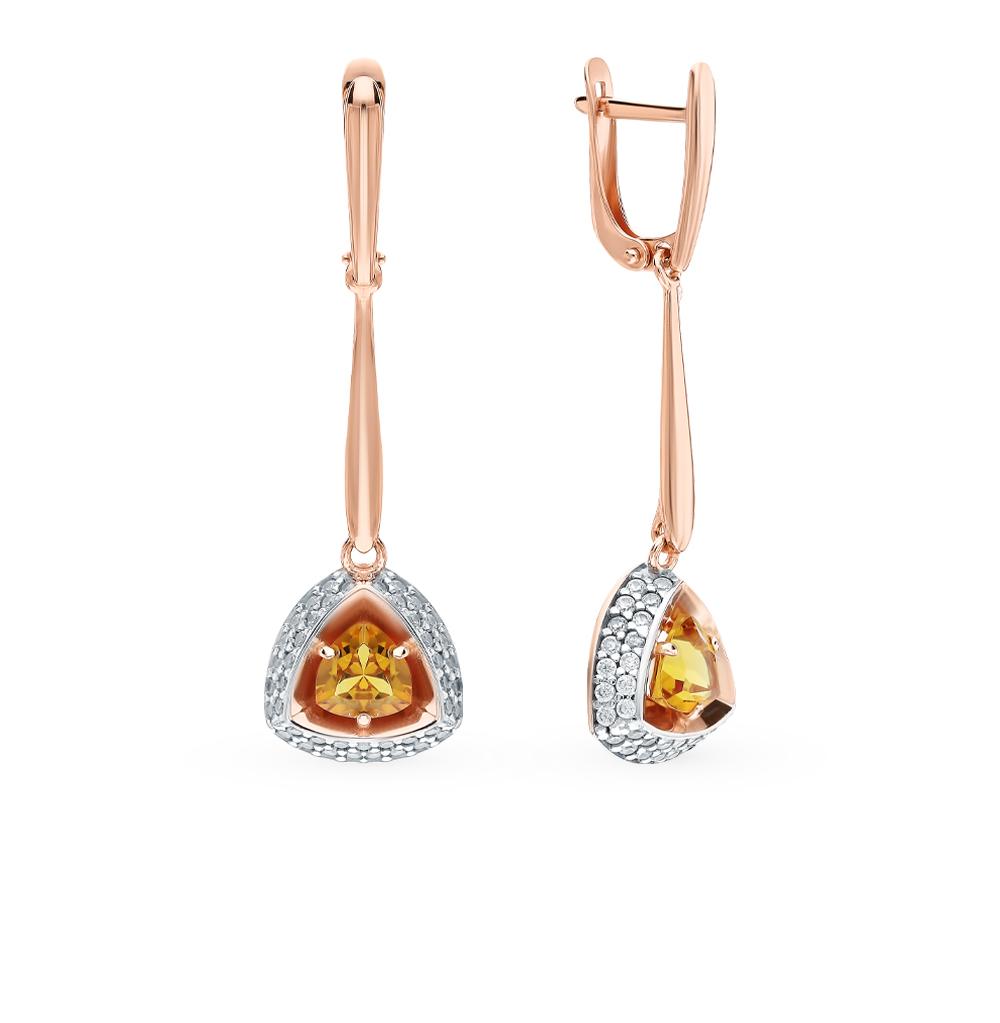Серебряные серьги с султанитами и фианитами в Екатеринбурге