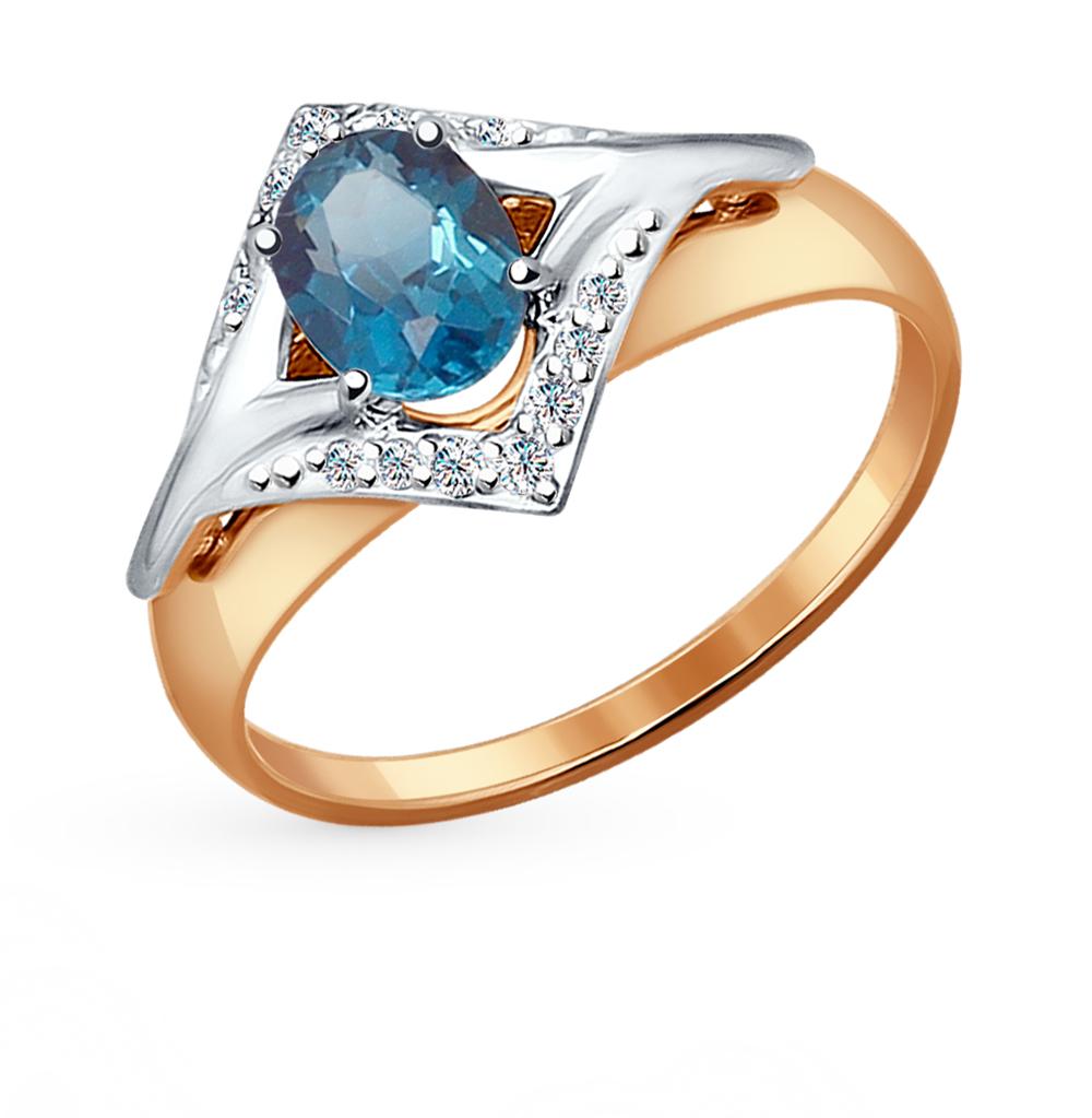 золотое кольцо с топазами и фианитами SOKOLOV 714464*
