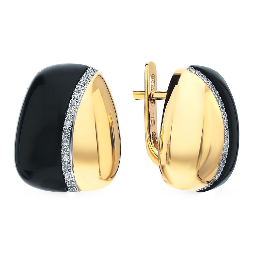 Золотые серьги с ониксом и бриллиантами в Санкт-Петербурге