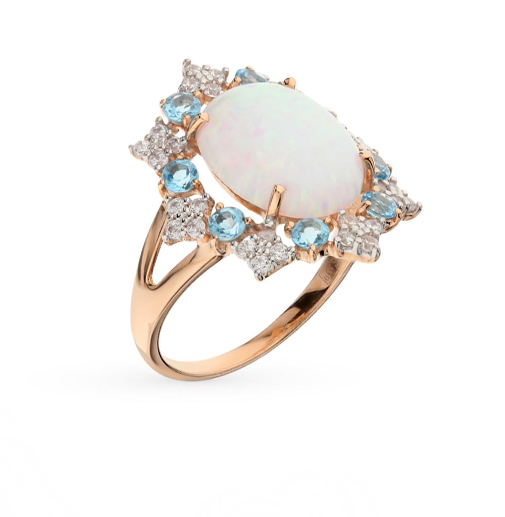 Фото «золотое кольцо с опалами, топазами и фианитами»