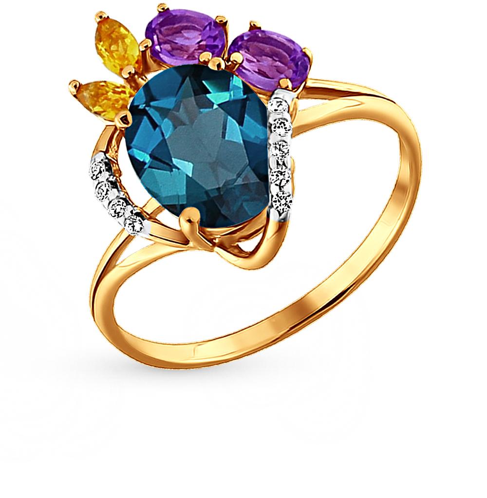 Фото «золотое кольцо с аметистом, цитринами, топазами и фианитами»