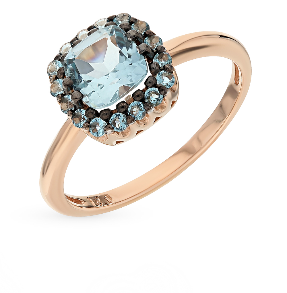 Золотое кольцо с топазом и фианитами