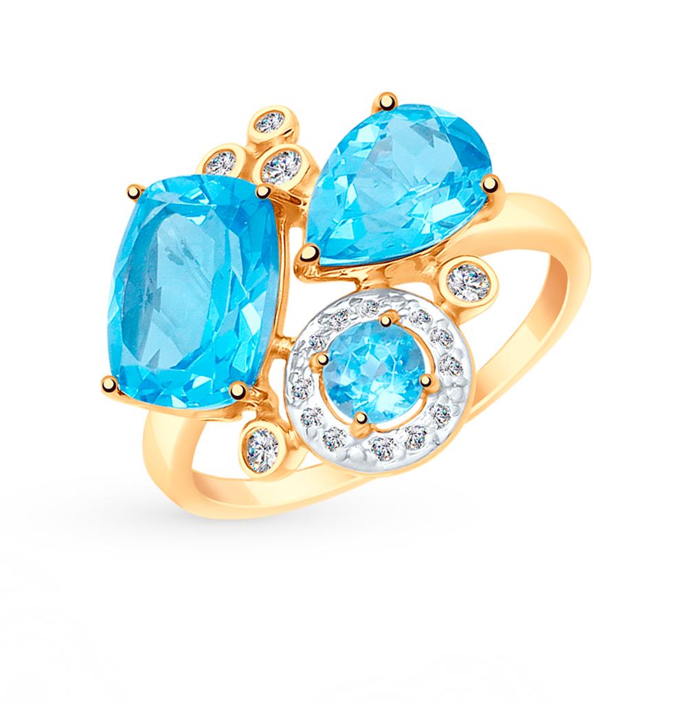 Золотое кольцо с топазами и фианитами SOKOLOV 715019 в Екатеринбурге