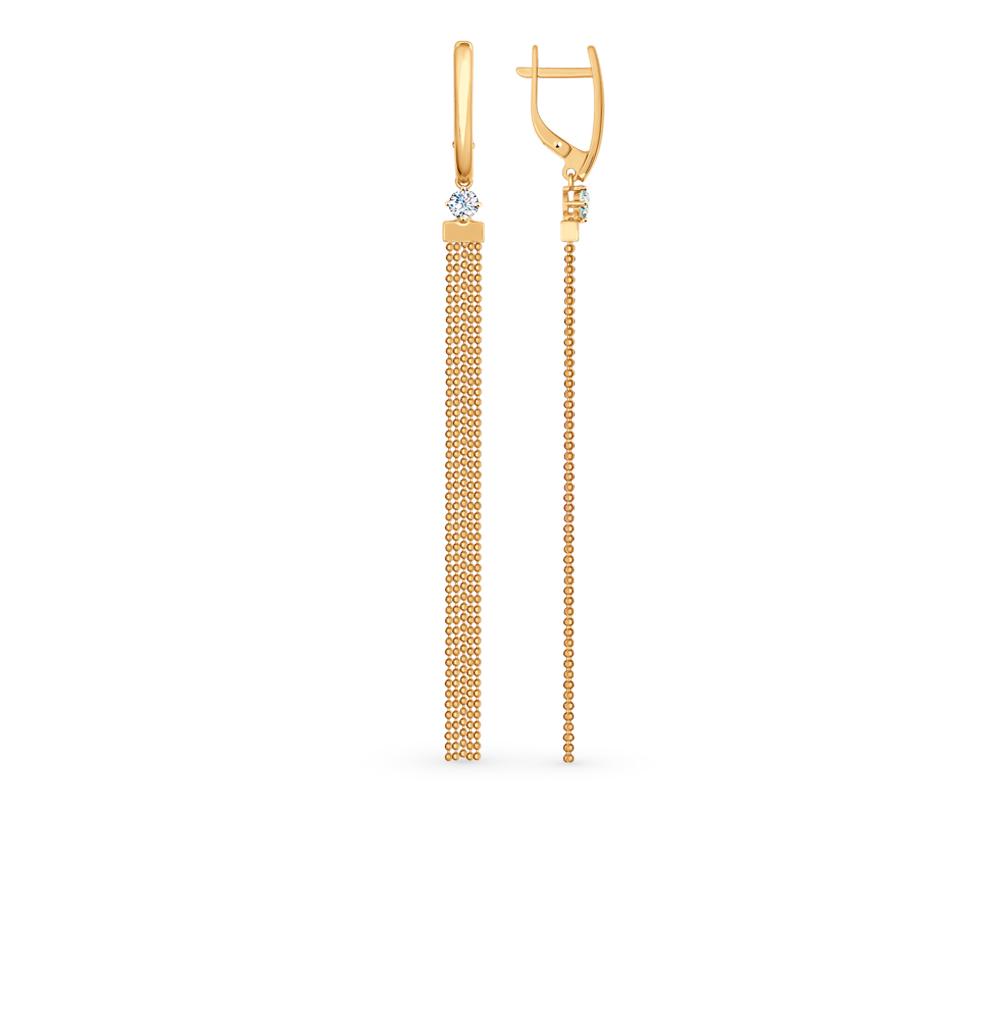 золотые серьги с фианитами SOKOLOV 027082*