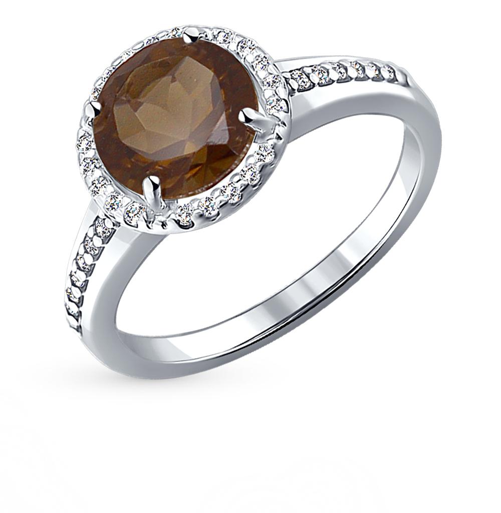 серебряное кольцо с раухтопазами и фианитами SOKOLOV 92010970