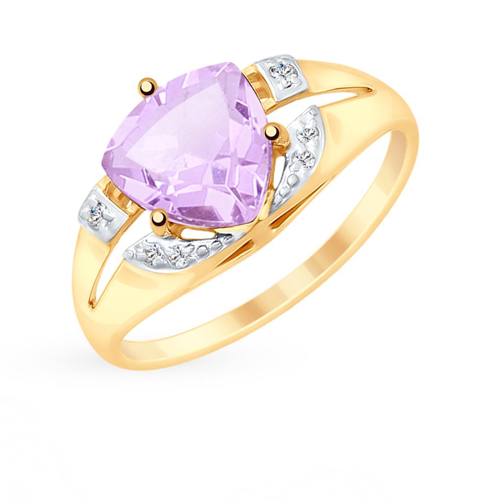 золотое кольцо с аметистом и фианитами SOKOLOV 715345*