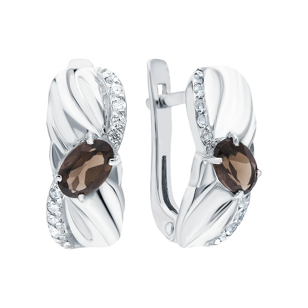 Фото «Серебряные серьги с раухтопазами и фианитами»
