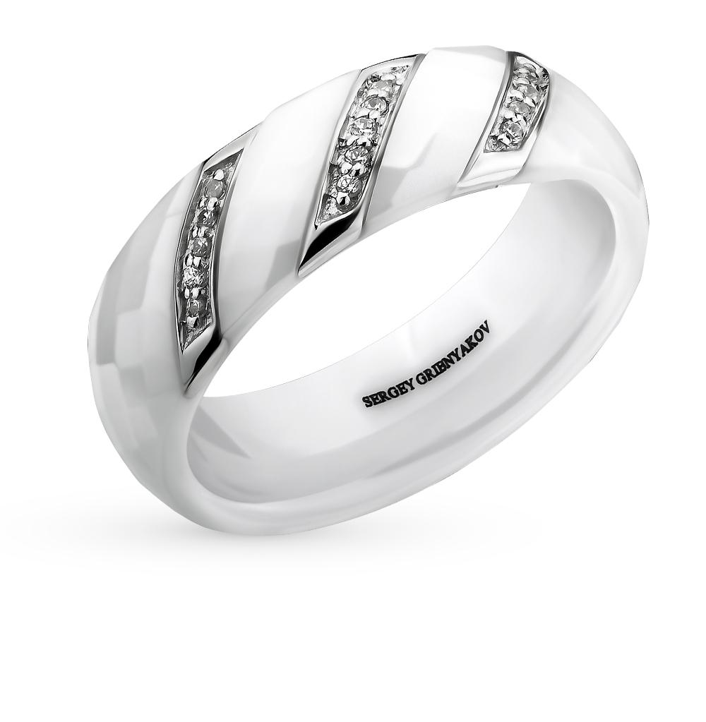 Фото «кольцо из стали и керамики с фианитами»