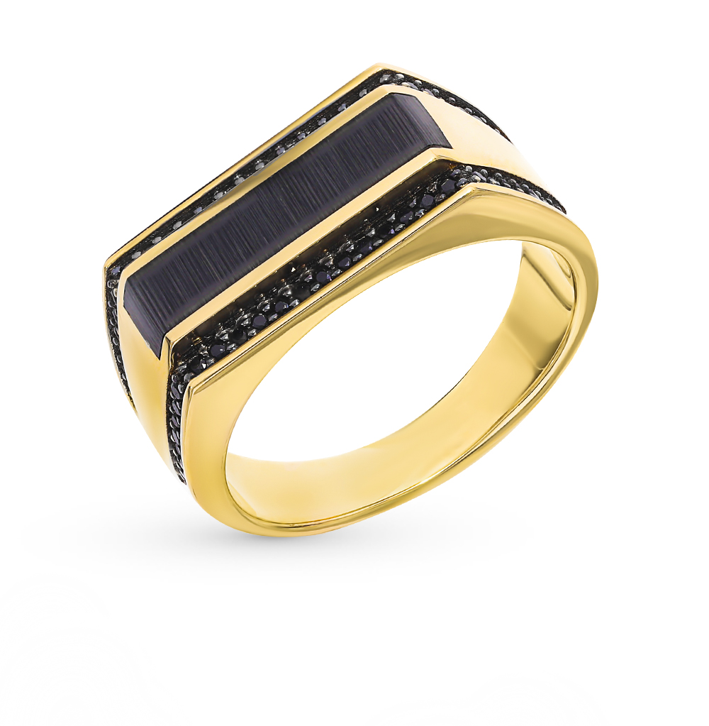 золотое кольцо с ониксом и фианитами