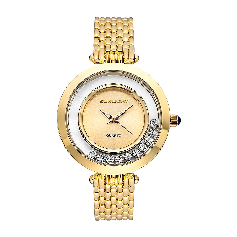 Фото «Женские часы с танцующими кристаллами на металлическом браслете»