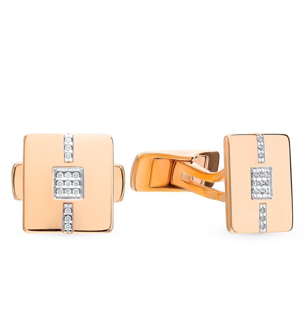 Фото «Золотые запонки с фианитами SOKOLOV 160038*»