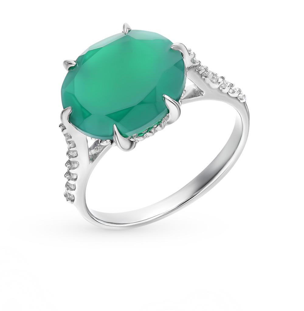 серебряное кольцо с фианитами, агатом и кубическими циркониями