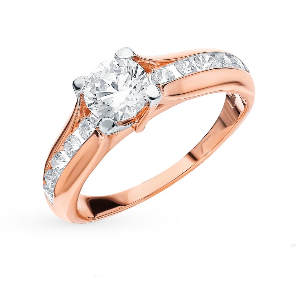золотое кольцо с фианитами SOKOLOV 018441*
